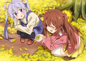 Rating: Safe Score: 38 Tags: koshigaya_komari miyauchi_renge moso non_non_biyori overalls pantyhose sweater thighhighs User: Mr_GT
