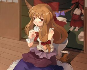 Rating: Safe Score: 6 Tags: hakurei_reimu ibuki_suika morino_hon touhou wallpaper User: konstargirl