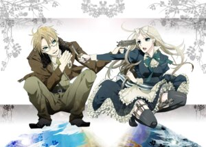 Rating: Safe Score: 5 Tags: america belarus dress gun hanazawa hetalia_axis_powers megane thighhighs User: charunetra