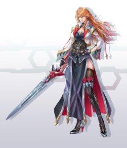Rating: Safe Score: 24 Tags: armor cleavage heels pengnangehao sword thighhighs User: mash