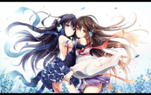 Rating: Questionable Score: 162 Tags: akkijin dress kokone_(vocaloid) nopan symmetrical_docking vocaloid wallpaper User: edogawaconan