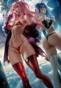 Rating: Questionable Score: 88 Tags: ass bikini cameltoe darling_in_the_franxx erect_nipples horns ichigo_(darling_in_the_franxx) open_shirt sakimichan swimsuits thighhighs thong zero_two_(darling_in_the_franxx) User: BattlequeenYume