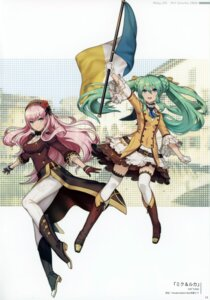 Rating: Safe Score: 17 Tags: 2d cleavage hatsune_miku heels megurine_luka thighhighs vocaloid User: kiyoe