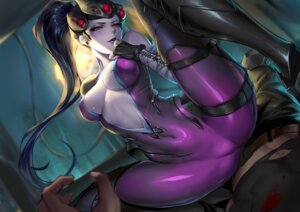 Rating: Questionable Score: 12 Tags: bodysuit cameltoe cianyo garter heels no_bra open_shirt overwatch tattoo widowmaker User: charunetra
