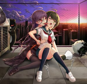 Rating: Questionable Score: 44 Tags: blood breast_grab dangan-ronpa drogoth fukawa_touko megane naegi_komaru seifuku thighhighs torn_clothes yuri zettai_zetsubou_shoujo User: Mr_GT