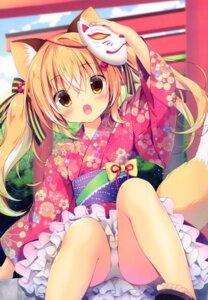 Rating: Questionable Score: 24 Tags: animal_ears canvas+garden hiyori kitsune miyasaka_miyu pantsu skirt_lift tail yukata User: lightsnow