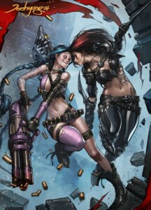 Rating: Safe Score: 29 Tags: armor bandaid bikini_top gun jee-hyung_lee jinx katarina_du_couteau league_of_legends signed tattoo thighhighs torn_clothes weapon User: Mr_GT