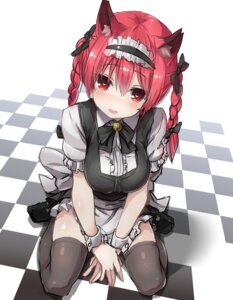 Rating: Safe Score: 101 Tags: 5240mosu animal_ears kaenbyou_rin maid nekomimi thighhighs touhou User: KazukiNanako