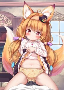 Rating: Questionable Score: 3 Tags: animal_ears flower_knight_girl loli mochiyuki pantsu skirt_lift tail User: Mr_GT