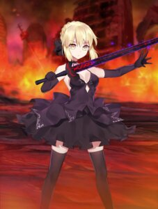 Rating: Safe Score: 20 Tags: cleavage dress fate/grand_order fate/hollow_ataraxia fate/stay_night roro_(shisi4656) saber saber_alter sword thighhighs User: Mr_GT