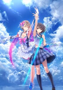 Rating: Safe Score: 56 Tags: blue_reflection cleavage gust_(company) heels kishida_mel seifuku shirai_hinako sword User: saemonnokami
