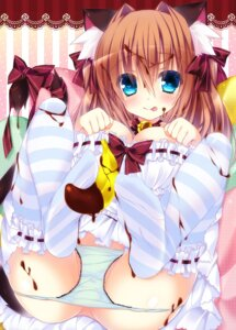 Rating: Questionable Score: 92 Tags: animal_ears cleavage cream feet nekomimi ojitea pantsu panty_pull tail thighhighs User: 椎名深夏