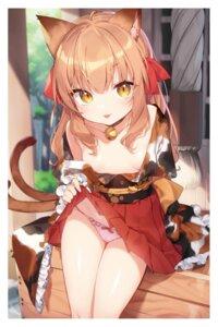 Rating: Questionable Score: 60 Tags: animal_ears no_bra pantsu skirt_lift tail tousaki_shiina User: hiroimo2