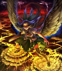Rating: Safe Score: 23 Tags: azuki_(azuki-taste) reiuji_utsuho thighhighs touhou weapon wings User: Mr_GT