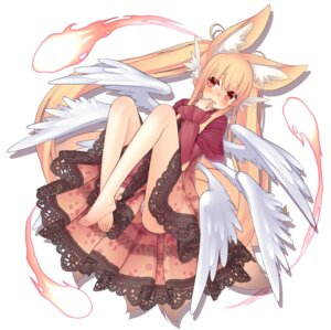 Rating: Questionable Score: 42 Tags: animal_ears dress kitsune pantsu runpu_runpu tail wings User: KazukiNanako