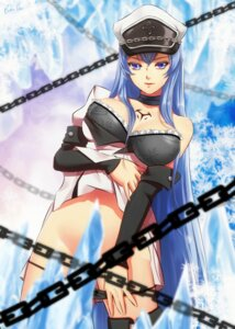 Rating: Questionable Score: 37 Tags: akame_ga_kill! bra cleavage esdeath open_shirt pantsu panty_pull tagme tattoo thighhighs undressing User: BattlequeenYume