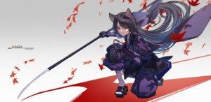 Rating: Safe Score: 22 Tags: animal_ears arknights japanese_clothes nekomimi nian saga_(arknights) weapon User: Dreista