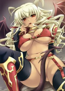 Rating: Questionable Score: 68 Tags: cleavage devil erect_nipples horns nopan saeki_hokuto tail thighhighs underboob wings User: midzki