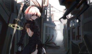 Rating: Safe Score: 11 Tags: dress mazumaro nier_automata pantsu sword yorha_no.2_type_b User: mash