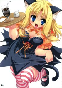 Rating: Safe Score: 46 Tags: animal_ears cleavage nekomimi sorimura_youji tail thighhighs waitress User: blooregardo