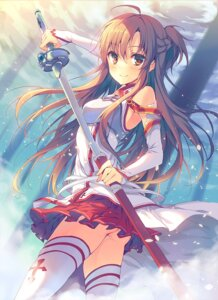 Rating: Questionable Score: 106 Tags: asuna_(sword_art_online) nopan reia sword sword_art_online thighhighs User: fairyren