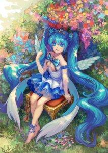 Rating: Safe Score: 24 Tags: dress garter hatsune_miku no_bra raymond_busujima see_through vocaloid wings User: charunetra