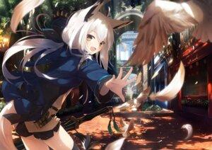 Rating: Safe Score: 85 Tags: animal_ears kitsune nagishiro_mito sword tail thighhighs User: RyuZU