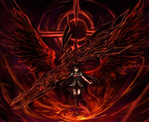 Rating: Safe Score: 17 Tags: makai_no_juumin reiuji_utsuho thighhighs touhou weapon wings User: yuhangyhn