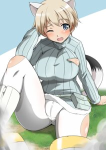 Rating: Questionable Score: 17 Tags: animal_ears cameltoe nikka_edvardine_katajainen no_bra pantyhose strike_witches sweater tail torn_clothes tricky_46 User: Nepcoheart