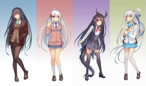 Rating: Safe Score: 47 Tags: heterochromia horns pantyhose pointy_ears seifuku sweater tail thighhighs weiyinji_xsk User: Mr_GT