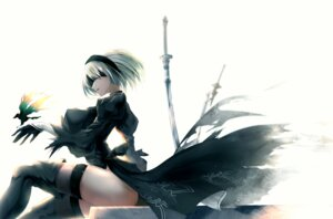 Rating: Questionable Score: 44 Tags: ass dress erect_nipples limeblock nier_automata no_bra pantsu sword thighhighs yorha_no.2_type_b User: mash