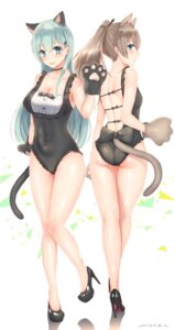 Rating: Safe Score: 76 Tags: animal_ears ass cleavage heels kantai_collection kumano_(kancolle) nekomimi sakiryo_kanna suzuya_(kancolle) swimsuits tail User: Mr_GT