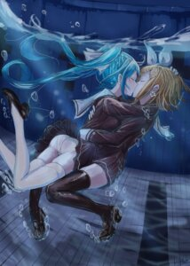 Rating: Questionable Score: 38 Tags: ass hatsune_miku hmax kagamine_rin pantsu seifuku skirt_lift thighhighs vocaloid yuri User: Mr_GT