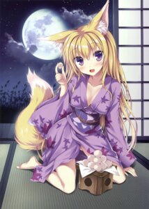 Rating: Questionable Score: 32 Tags: animal_ears cleavage erect_nipples kitsune open_shirt tagme tail tateha yukata User: Twinsenzw