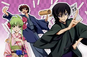 Rating: Safe Score: 11 Tags: c.c. code_geass kururugi_suzaku lelouch_lamperouge okayama_shinako User: vita