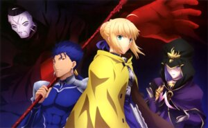 Rating: Safe Score: 24 Tags: armor caster dress fate/stay_night fate/stay_night_heaven's_feel fujimoto_noriko lancer saber true_assassin weapon User: drop