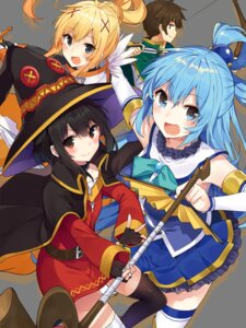 Rating: Safe Score: 18 Tags: aqua_(kono_subarashii_sekai_ni_shukufuku_wo!) bandages dress kono_subarashii_sekai_ni_shukufuku_wo! megumin mishima_kurone raratina_dustiness_ford sword thighhighs weapon witch User: zyll