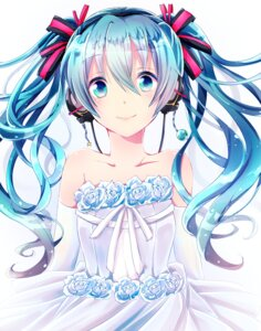 Rating: Safe Score: 38 Tags: dress hatsune_miku headphones shion_sana vocaloid wedding_dress User: ddns001