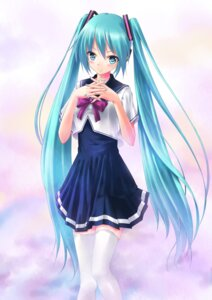 Rating: Safe Score: 67 Tags: hatsune_miku seifuku thighhighs toshi_(www000wj) vocaloid User: fireattack
