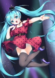 Rating: Safe Score: 36 Tags: dress hatsune_miku heels miyashita_maka thighhighs vocaloid User: Mr_GT