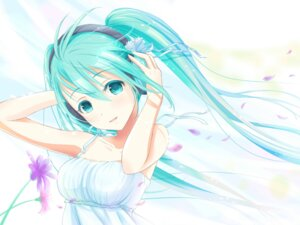 Rating: Safe Score: 51 Tags: dress hatsune_miku headphones summer_dress vocaloid yuki_(yukillust) User: aihost