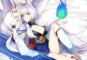Rating: Safe Score: 28 Tags: animal_ears bilan_hangxian cleavage kaga_(azurlane) kitsune luse_maonang tail User: RyuZU