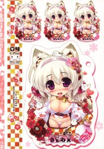 Rating: Questionable Score: 18 Tags: animal_ears areola black_paper_fortune chibi expression nekomimi no_bra open_shirt oshiki_hitoshi pantsu tail yukata User: fireattack
