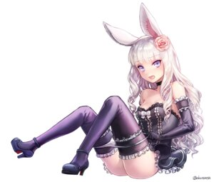 Rating: Questionable Score: 83 Tags: aken animal_ears bunny_ears cleavage dress elin heels no_bra pantsu panty_pull tera_online thighhighs User: charunetra