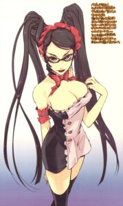 Rating: Safe Score: 72 Tags: bayonetta bayonetta_(character) cleavage dress fujitsubo-machine ito_noizi megane paper_texture thighhighs User: kyoukai\shiki