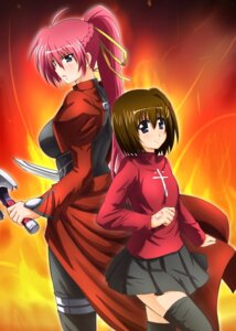 Rating: Safe Score: 16 Tags: cosplay diesel fate/stay_night mahou_shoujo_lyrical_nanoha signum thighhighs weapon yagami_hayate User: SubaruSumeragi
