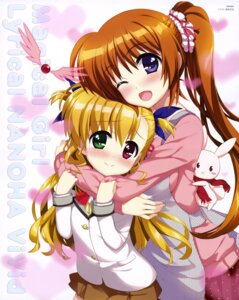 Rating: Safe Score: 40 Tags: fujima_takuya heterochromia mahou_shoujo_lyrical_nanoha mahou_shoujo_lyrical_nanoha_vivid sacred_heart seifuku sweater takamachi_nanoha vivio User: drop