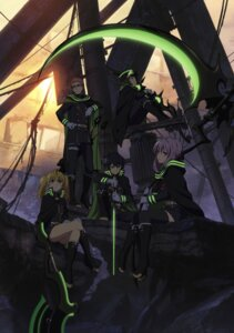 Rating: Safe Score: 34 Tags: digital_version hiiragi_shinoa hyakuya_yuuichirou kimizuki_shihou megane owari_no_seraph sanguu_mitsuba saotome_yoichi sword thighhighs uniform weapon User: blooregardo