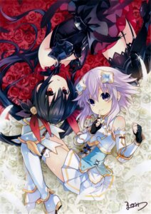 Rating: Safe Score: 48 Tags: armor autographed choujigen_game_neptune four_goddesses_online:_cyber_dimension_neptune heels manamitsu neptune noire stockings thighhighs User: Nepcoheart