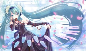 Rating: Safe Score: 53 Tags: dress hatsune_miku nisson thighhighs vocaloid User: charunetra